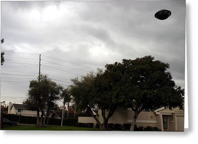 Ufo Over My Neighborhood  Greeting Card by Michael Ledray