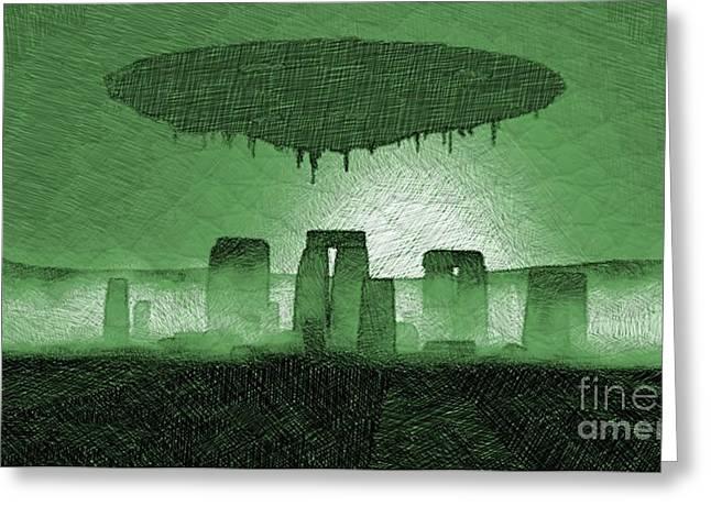 Ufo Over Stonehenge Greeting Card