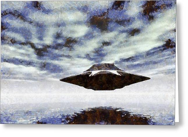 Ufo Over Water By Raphael Terra Greeting Card by Raphael Terra