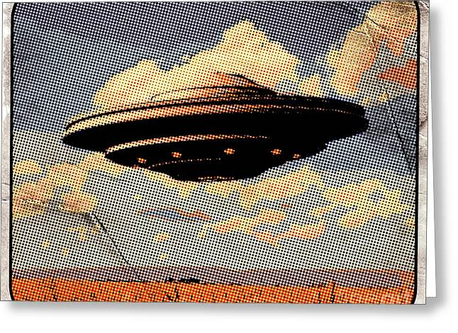 Ufo Pop Art By Raphael Terra Greeting Card by Raphael Terra