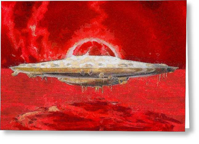 Ufo Red Greeting Card by Raphael Terra