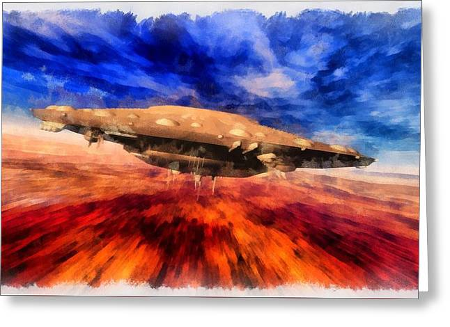 Ufo Speeding Greeting Card by Esoterica Art Agency