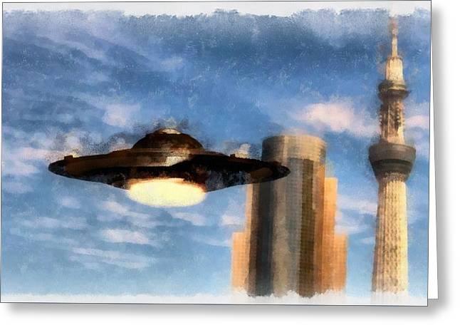 Ufo Towers Greeting Card