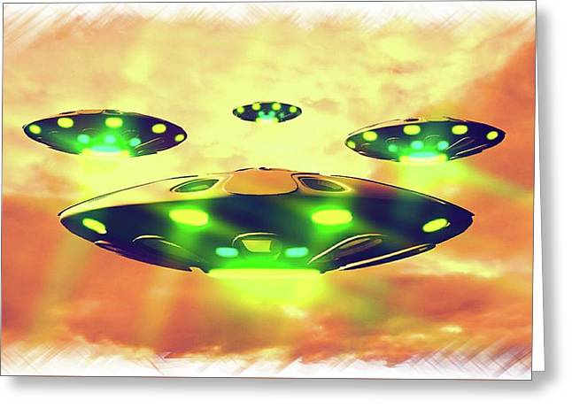 Ufo Variations By Rt Greeting Card by Raphael Terra