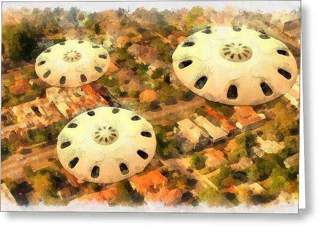 Ufos In La Greeting Card by Esoterica Art Agency