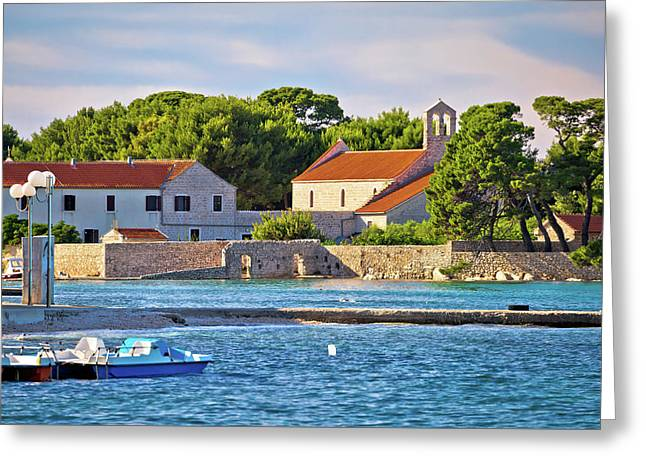 Ugljan Island Village Old Church And Beach View Greeting Card