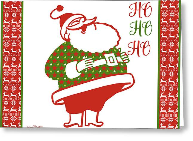Ugly Christmas Sweater Santa-d Greeting Card by Jean Plout