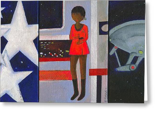 Uhura Stars In Space Greeting Card by Ricky Sencion