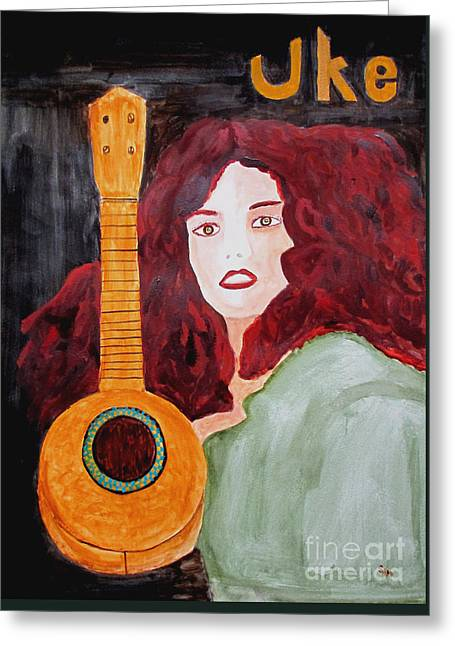 Greeting Card featuring the painting Uke by Sandy McIntire