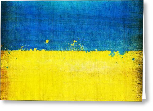 2012 Digital Art Greeting Cards - Ukraine flag Greeting Card by Setsiri Silapasuwanchai