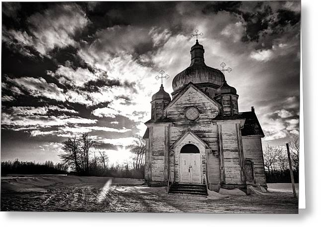 Ukranian Church Bw Sunset Greeting Card by Ian MacDonald