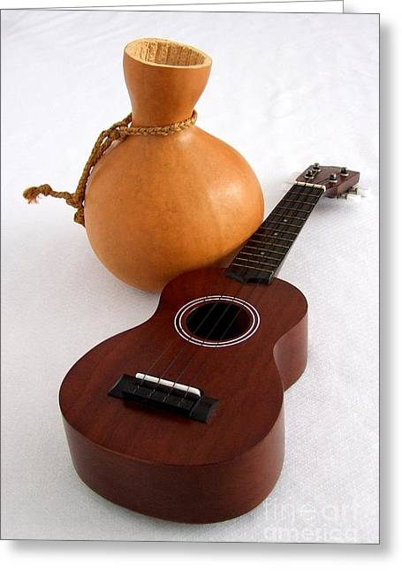 Ukulele And Ipu Greeting Card by Mary Deal
