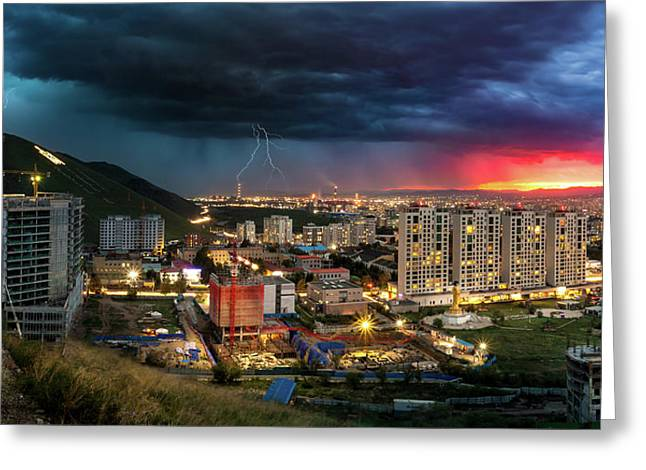 Ulaanbaatar Sunset Thunderstorm Greeting Card