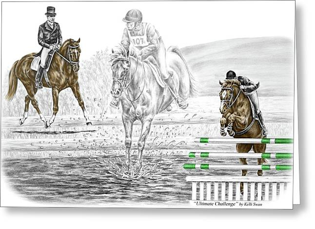 Collection Drawings Greeting Cards - Ultimate Challenge - Horse Eventing Print color tinted Greeting Card by Kelli Swan