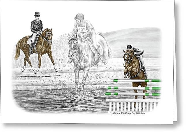 Ultimate Challenge - Horse Eventing Print Color Tinted Greeting Card by Kelli Swan