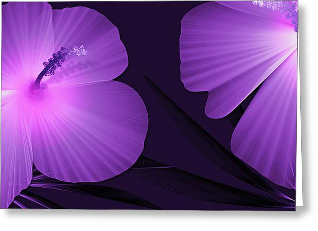 Ultraviolet Hibiscus Tropical Nature Print  Greeting Card