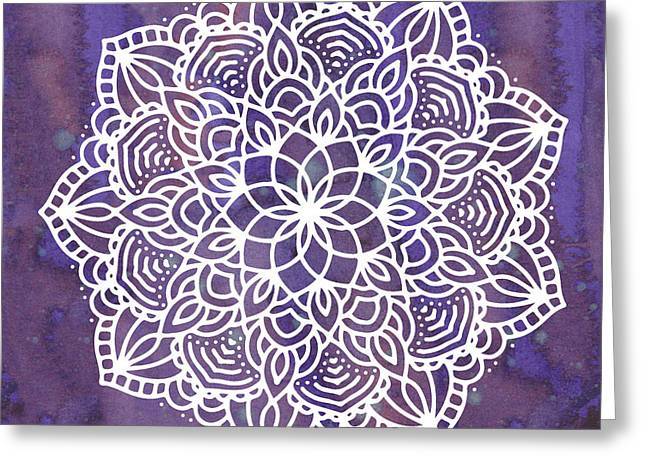 Ultraviolet Mandala Greeting Card