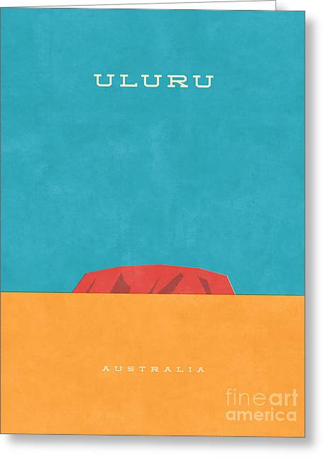 Uluru Ayers Rock Retro Tourism Greeting Card by Ivan Krpan