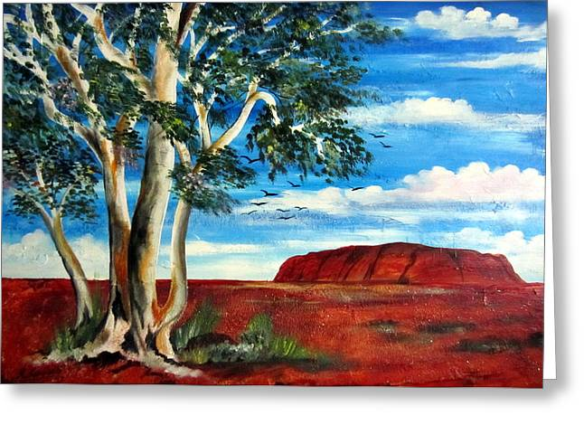 Greeting Card featuring the painting Uluru Ayers Rock by Roberto Gagliardi