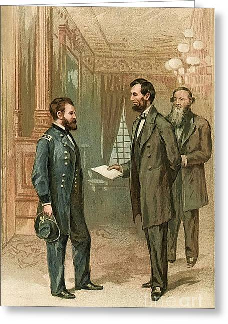 Ulysses S. Grant With Abraham Lincoln Greeting Card by Wellcome Images