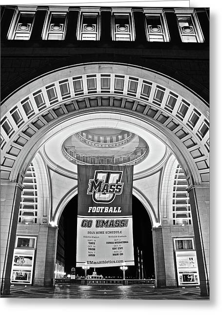 Umass Black And White Greeting Card by Frozen in Time Fine Art Photography