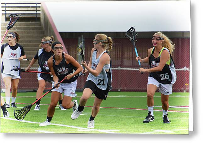 Umass Lax Practice Greeting Card by Mike Martin
