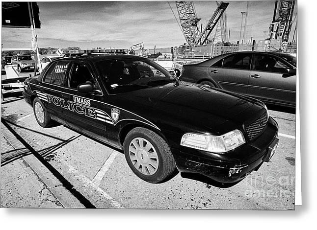 umass university campus police patrol vehicle Boston USA Greeting Card