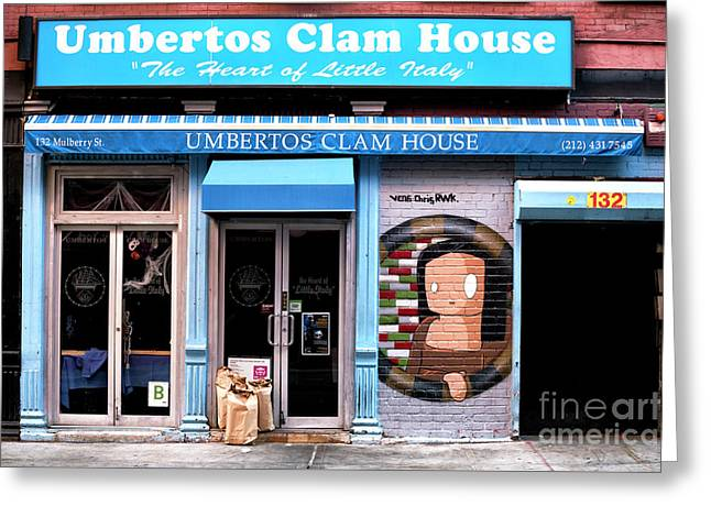Greeting Card featuring the photograph Umbertos Clam House by John Rizzuto