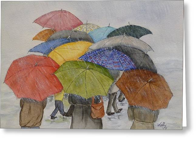 Umbrella Huddle Two Greeting Card by Kelly Mills