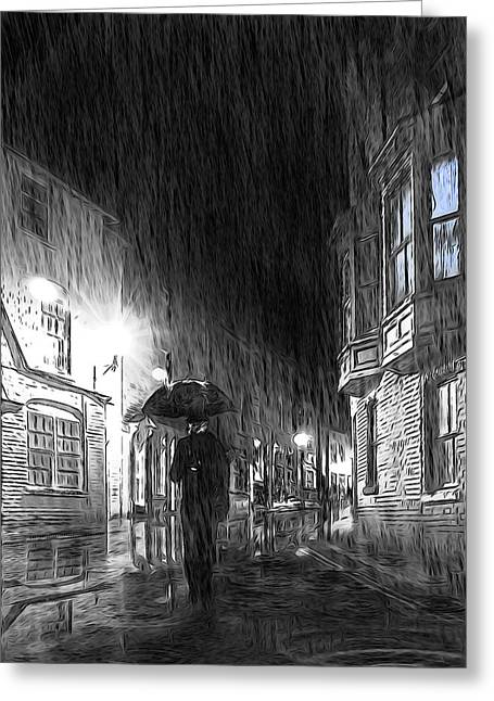 Light And Dark Mixed Media Greeting Cards - Umbrella Man I Greeting Card by Svetlana Sewell