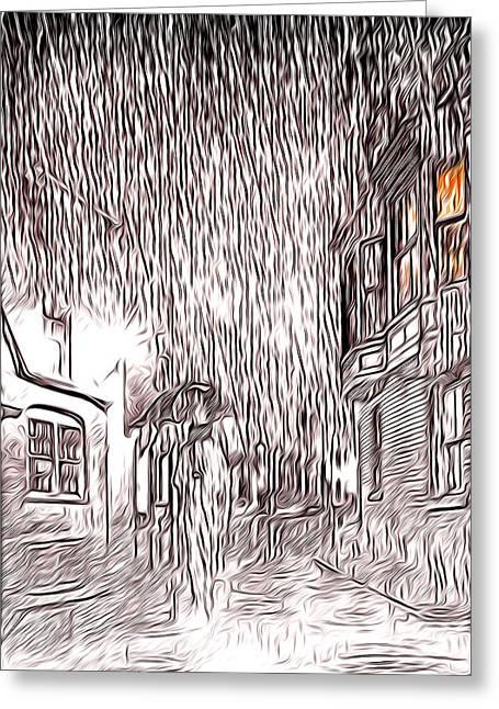 Umbrella Man Greeting Card by Svetlana Sewell
