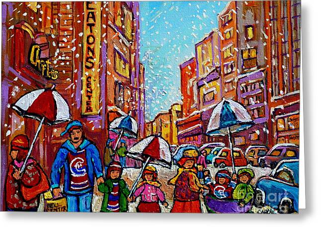 Umbrella Painting Snowy Rainy Day Rue St Catherine April Snow Showers Downtown Montreal Art        Greeting Card