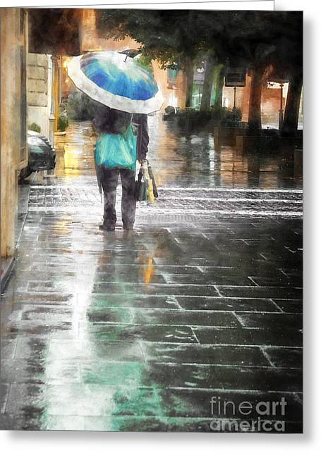 Umbrella Seller Greeting Card by HD Connelly