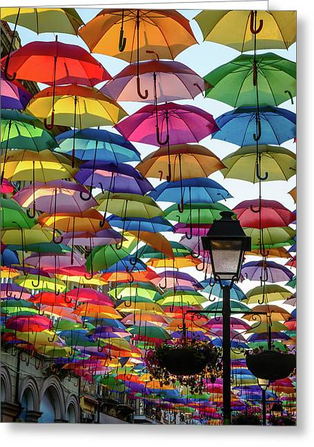 Umbrella Sky Greeting Card by Marco Oliveira