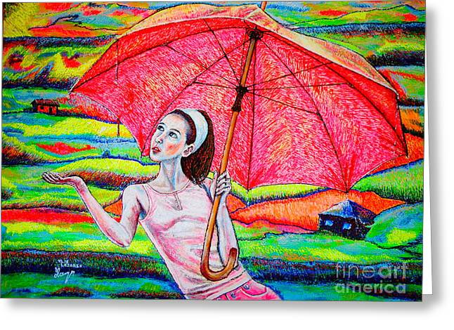 Umbrella.girl Greeting Card by Viktor Lazarev