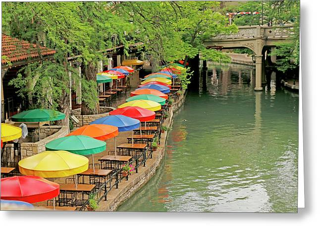 Greeting Card featuring the photograph Umbrellas Along River Walk - San Antonio by Art Block Collections