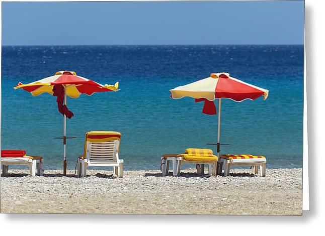 Umbrellas And Beach Chairs On A Beach Greeting Card