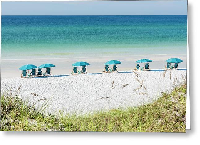 Umbrellas Await On The Beach Greeting Card