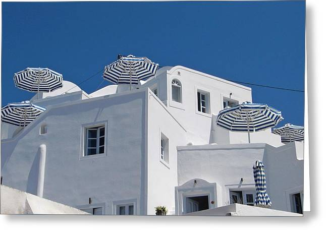 Umbrellas - Santorini, Greece Greeting Card