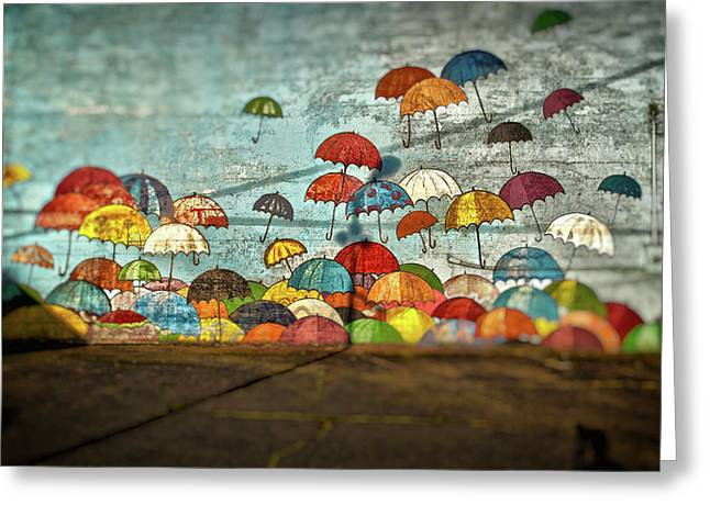Umbrellas  Greeting Card by Matthew Ahola