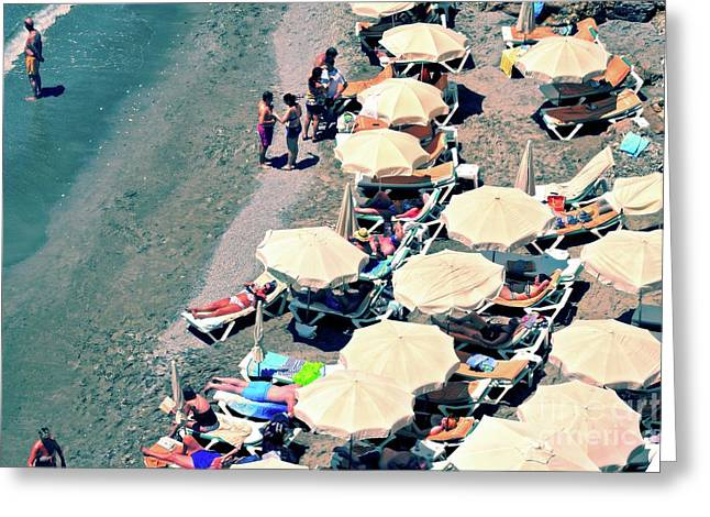 Greeting Card featuring the photograph Umbrellas On The Beach - Nerja by Mary Machare