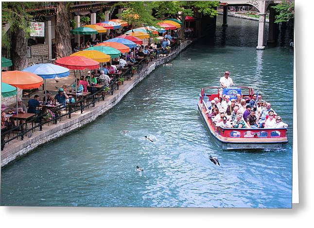 Umbrellas On The San Antonio Riverwalk - Paseo Del Rio - Texas Greeting Card by Gregory Ballos