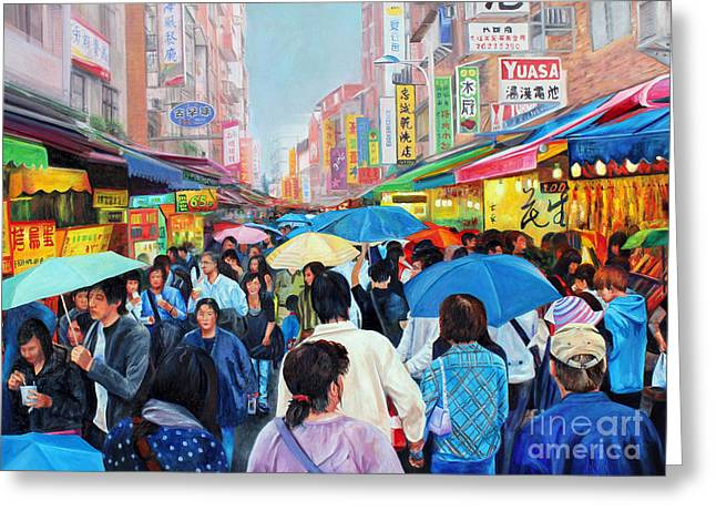Umbrellas Up In Taiwan Greeting Card