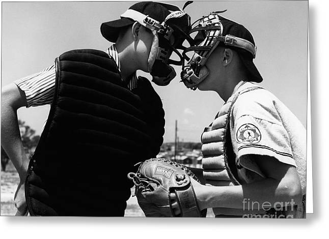 Umpire And Catcher Arguing, C.1950-60s Greeting Card