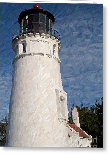 Umpqua Lighthouse Greeting Card by Carol Grimes