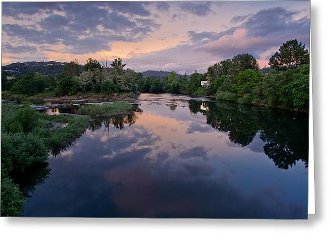 Umpqua River At Sunset Greeting Card by Greg Nyquist
