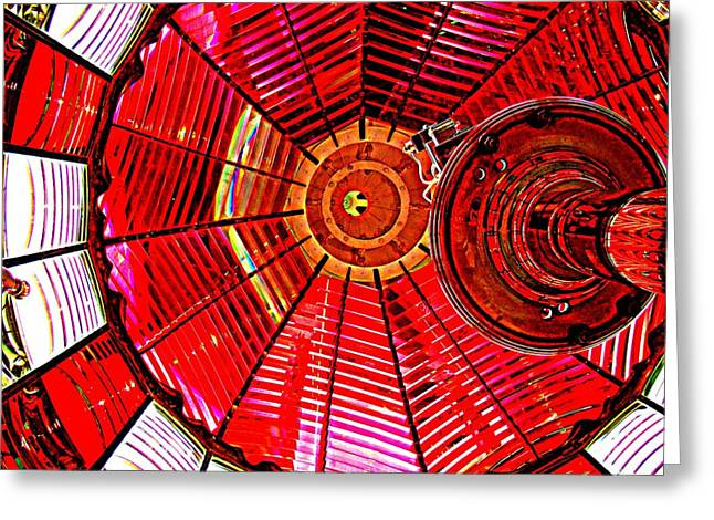 Umpqua River Lighthouse Lens In Hdr Greeting Card