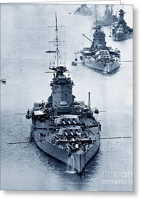 Hms Nelson And Hms Rodney Battleships And Battlecruisers Hms Hood Circa 1941 Greeting Card