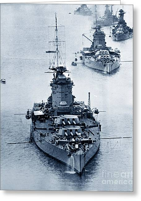 Hms Nelson And Hms Rodney Battleships And Battlecruisers Hms Hood Circa 1941 Greeting Card