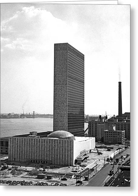 Un Building Under Construction Greeting Card by Underwood Archives